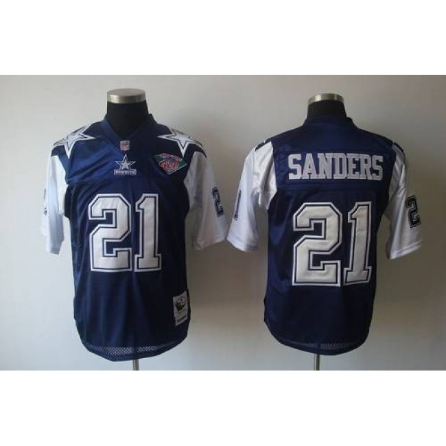 Mitchell & Ness Cowboys #21 Deion Sanders Blue/White With 75TH Stitched Throwback NFL Jersey