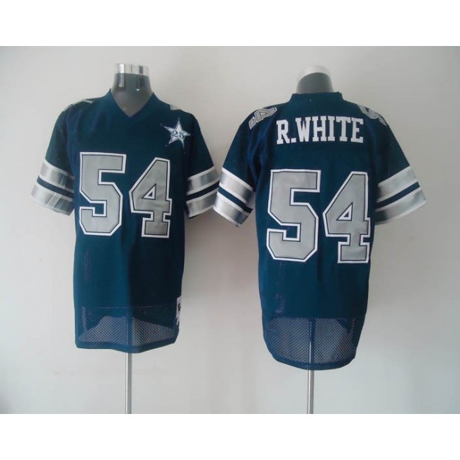 Mitchell & Ness Cowboys #54 Randy White Blue With 25th Patch Stitched Throwback NFL Jersey