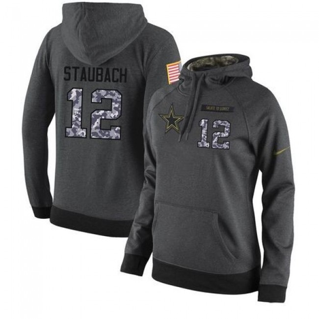 Women's NFL Dallas Cowboys #12 Roger Staubach Stitched Black Anthracite Salute to Service Player Hoodie Jersey