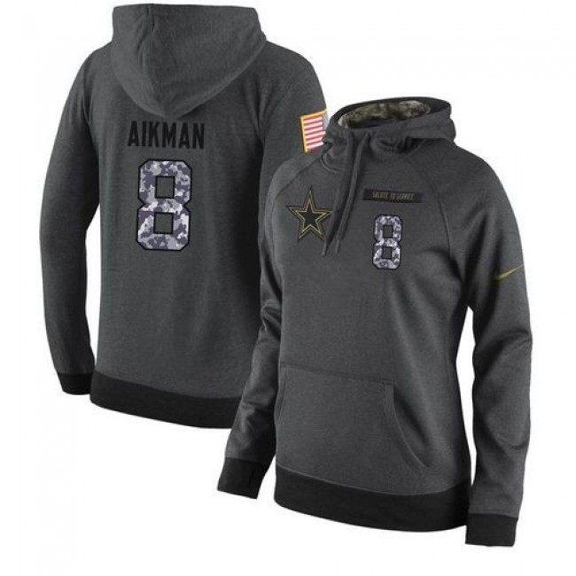 Women's NFL Dallas Cowboys #8 Troy Aikman Stitched Black Anthracite Salute to Service Player Hoodie Jersey