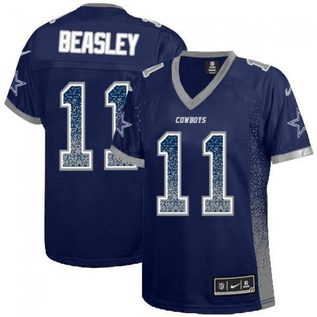 Women's Cowboys #11 Cole Beasley Navy Blue Team Color Stitched NFL Elite Drift Jersey