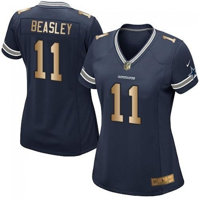 Women's Cowboys #11 Cole Beasley Navy Blue Team Color Stitched NFL Elite Gold Jersey