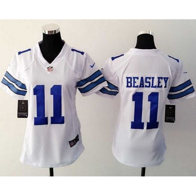 Women's Cowboys #11 Cole Beasley White Stitched NFL Elite Jersey