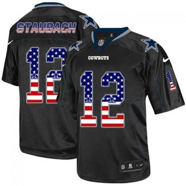Nike Cowboys #12 Roger Staubach Black Men's Stitched NFL Elite USA Flag Fashion Jersey