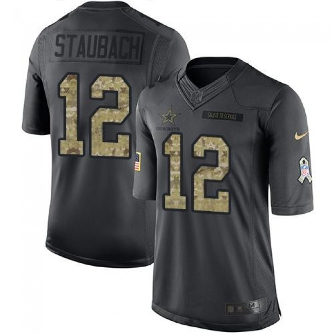 Dallas Cowboys #12 Roger Staubach Black Youth Stitched NFL Limited 2016 Salute to Service Jersey