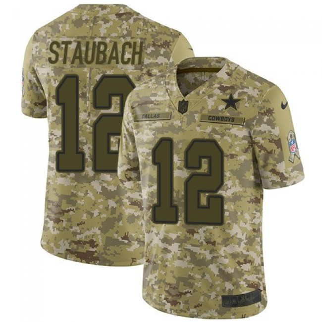 Nike Cowboys #12 Roger Staubach Camo Men's Stitched NFL Limited 2018 Salute To Service Jersey