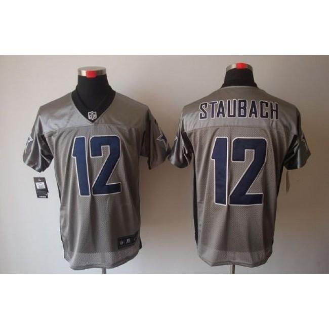 Nike Cowboys #12 Roger Staubach Grey Shadow Men's Stitched NFL Elite Jersey