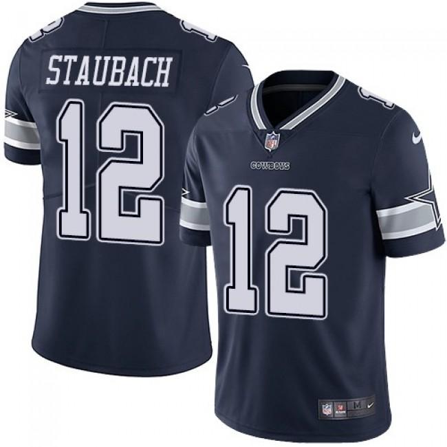 Nike Cowboys #12 Roger Staubach Navy Blue Team Color Men's Stitched NFL Vapor Untouchable Limited Jersey