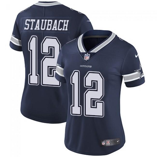 Women's Cowboys #12 Roger Staubach Navy Blue Team Color Stitched NFL Vapor Untouchable Limited Jersey