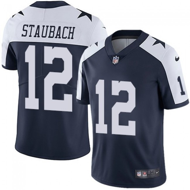 Nike Cowboys #12 Roger Staubach Navy Blue Thanksgiving Men's Stitched NFL Vapor Untouchable Limited Throwback Jersey