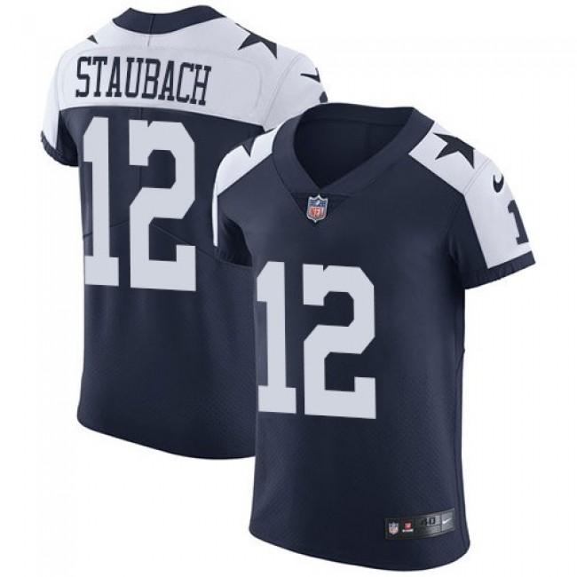 Nike Cowboys #12 Roger Staubach Navy Blue Thanksgiving Men's Stitched NFL Vapor Untouchable Throwback Elite Jersey