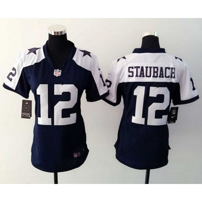 Women's Cowboys #12 Roger Staubach Navy Blue Thanksgiving Throwback Stitched NFL Elite Jersey
