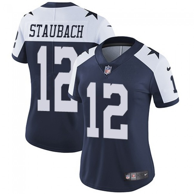 Women's Cowboys #12 Roger Staubach Navy Blue Thanksgiving Stitched NFL Vapor Untouchable Limited Throwback Jersey