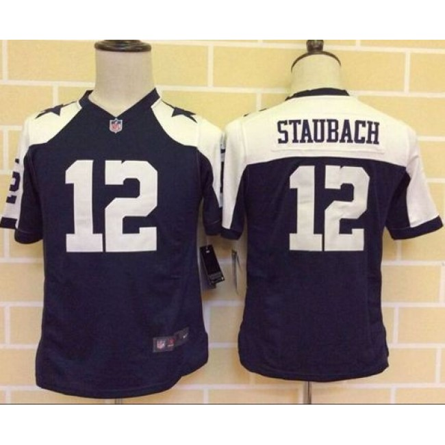 Dallas Cowboys #12 Roger Staubach Navy Blue Thanksgiving Youth Throwback Stitched NFL Elite Jersey