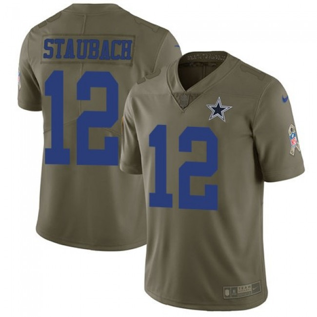 Nike Cowboys #12 Roger Staubach Olive Men's Stitched NFL Limited 2017 Salute To Service Jersey