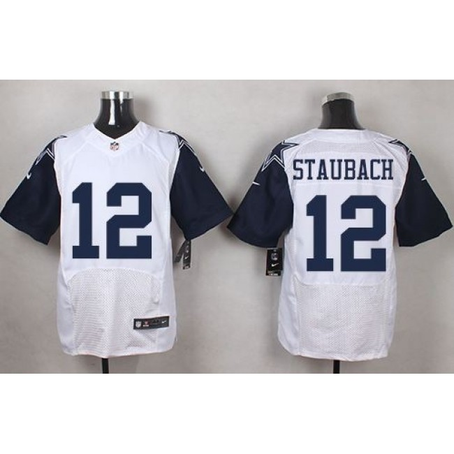 Nike Cowboys #12 Roger Staubach White Men's Stitched NFL Elite Rush Jersey