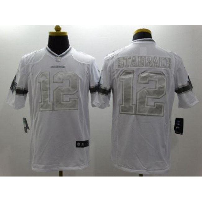 Nike Cowboys #12 Roger Staubach White Men's Stitched NFL Limited Platinum Jersey