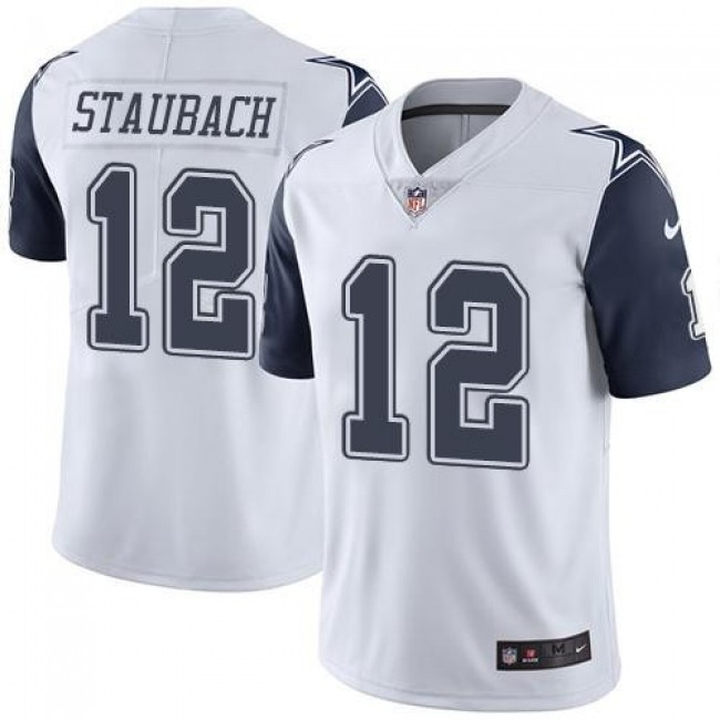 Nike Cowboys #12 Roger Staubach White Men's Stitched NFL Limited Rush Jersey