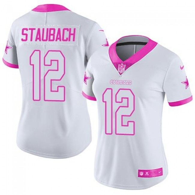 Women's Cowboys #12 Roger Staubach White Pink Stitched NFL Limited Rush Jersey
