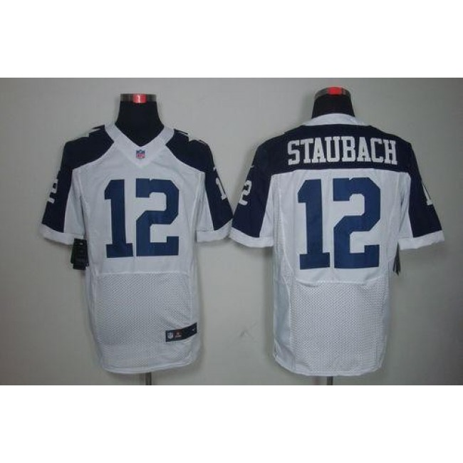 Nike Cowboys #12 Roger Staubach White Thanksgiving Throwback Men's Stitched NFL Elite Jersey