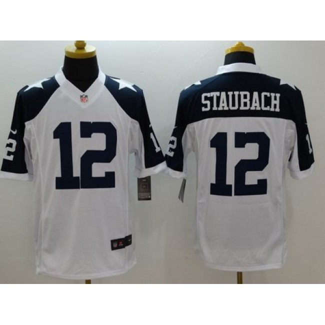 Nike Cowboys #12 Roger Staubach White Thanksgiving Throwback Men's Stitched NFL Limited Jersey