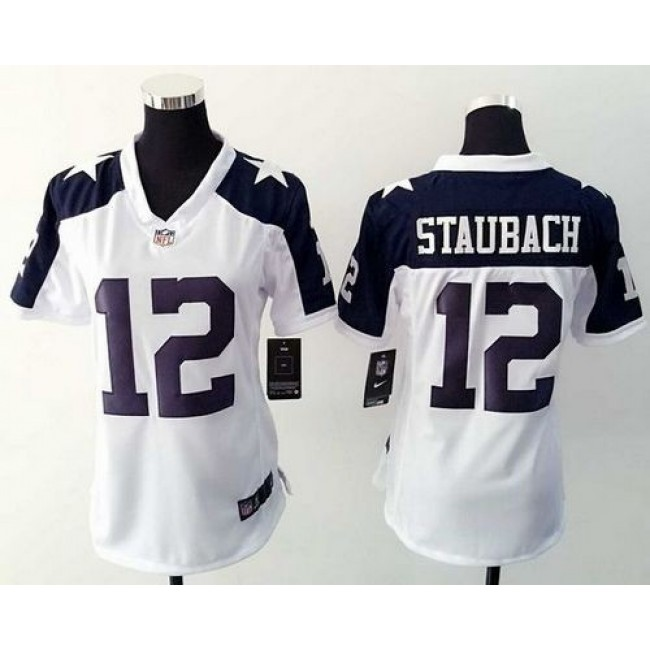 Women's Cowboys #12 Roger Staubach White Thanksgiving Throwback Stitched NFL Elite Jersey