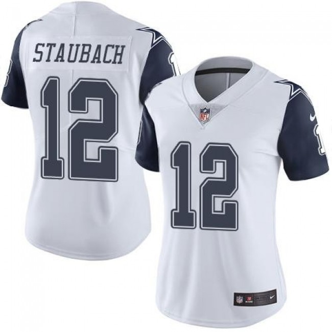 Women's Cowboys #12 Roger Staubach White Stitched NFL Limited Rush Jersey