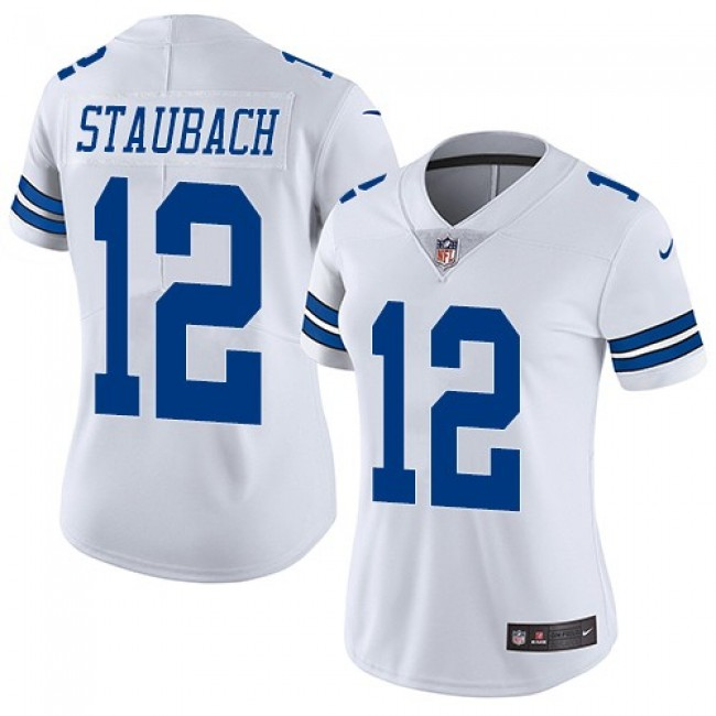 Women's Cowboys #12 Roger Staubach White Stitched NFL Vapor Untouchable Limited Jersey