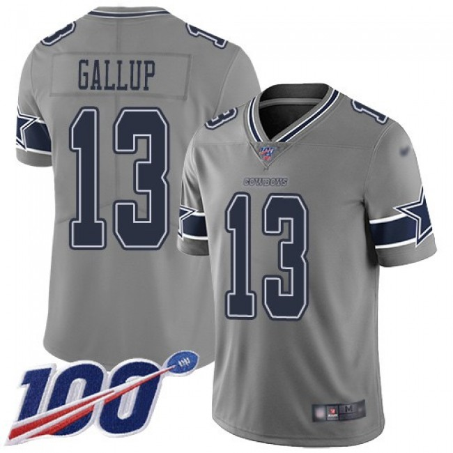 Nike Cowboys #13 Michael Gallup Gray Men's Stitched NFL Limited Inverted Legend 100th Season Jersey