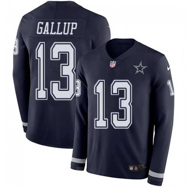 Nike Cowboys #13 Michael Gallup Navy Blue Team Color Men's Stitched NFL Limited Therma Long Sleeve Jersey