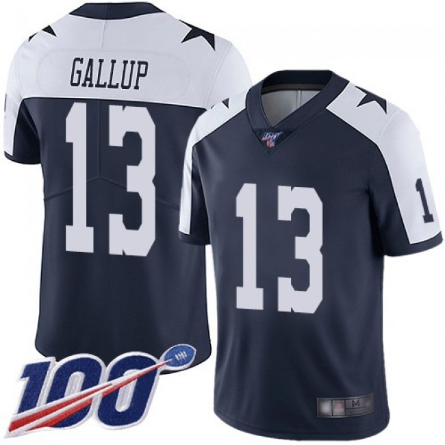 Nike Cowboys #13 Michael Gallup Navy Blue Thanksgiving Men's Stitched NFL 100th Season Vapor Throwback Limited Jersey