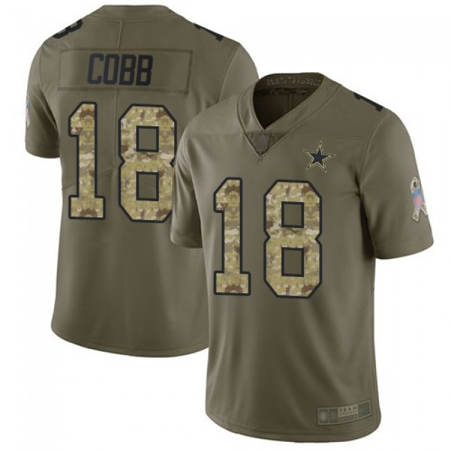 Nike Cowboys #18 Randall Cobb Olive/Camo Men's Stitched NFL Limited 2017 Salute To Service Jersey