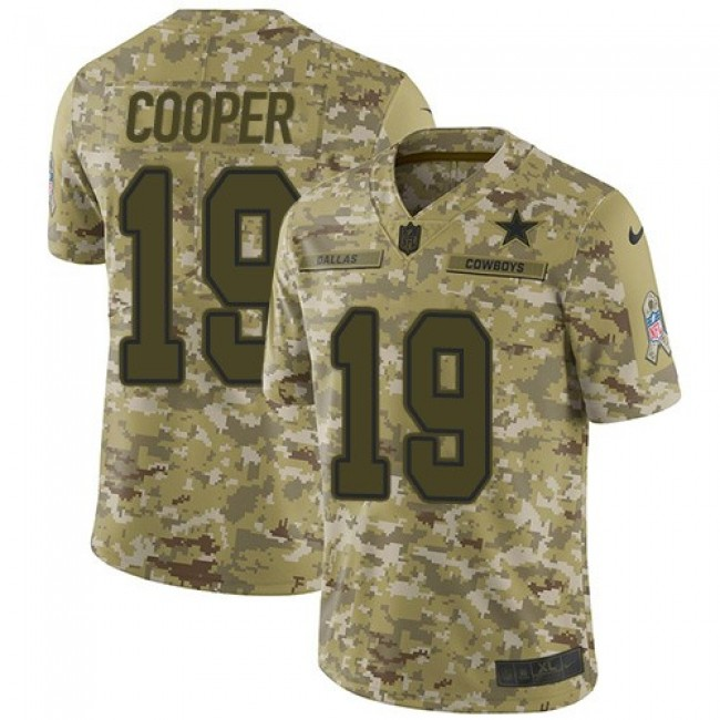 Nike Cowboys #19 Amari Cooper Camo Men's Stitched NFL Limited 2018 Salute To Service Jersey