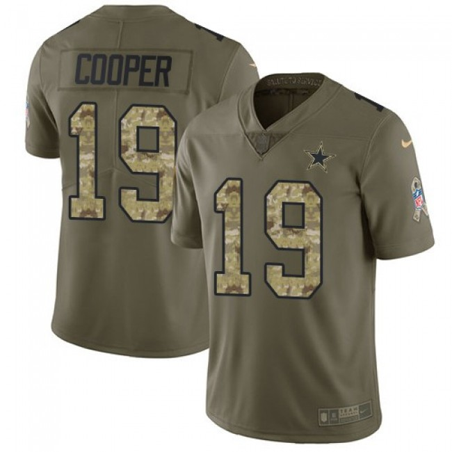 Nike Cowboys #19 Amari Cooper Olive/Camo Men's Stitched NFL Limited 2017 Salute To Service Jersey
