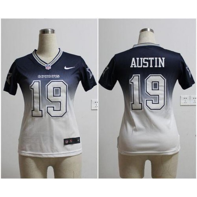Women's Cowboys #19 Miles Austin Navy Blue White Stitched NFL Elite Fadeaway Jersey