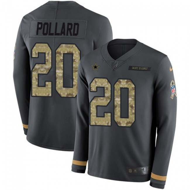 Nike Cowboys #20 Tony Pollard Anthracite Salute to Service Men's Stitched NFL Limited Therma Long Sleeve Jersey
