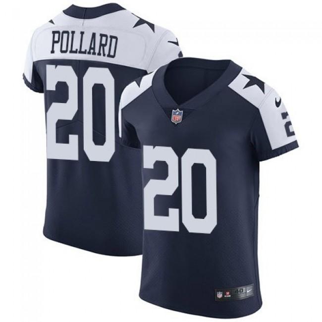 Nike Cowboys #20 Tony Pollard Navy Blue Thanksgiving Men's Stitched NFL Vapor Untouchable Throwback Elite Jersey