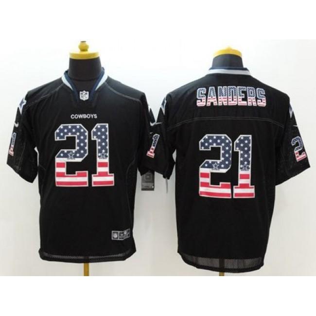 Nike Cowboys #21 Deion Sanders Black Men's Stitched NFL Elite USA Flag Fashion Jersey