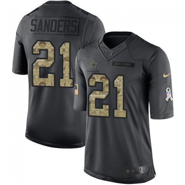 Nike Cowboys #21 Deion Sanders Black Men's Stitched NFL Limited 2016 Salute To Service Jersey