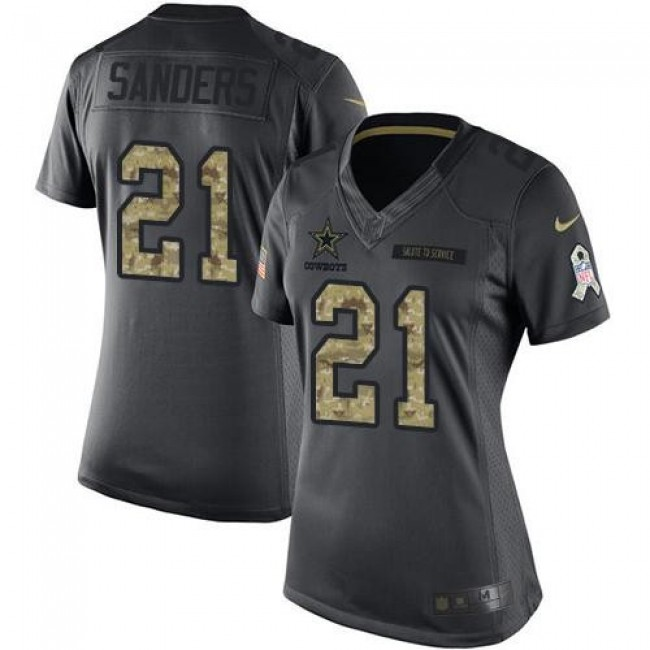 Women's Cowboys #21 Deion Sanders Black Stitched NFL Limited 2016 Salute to Service Jersey