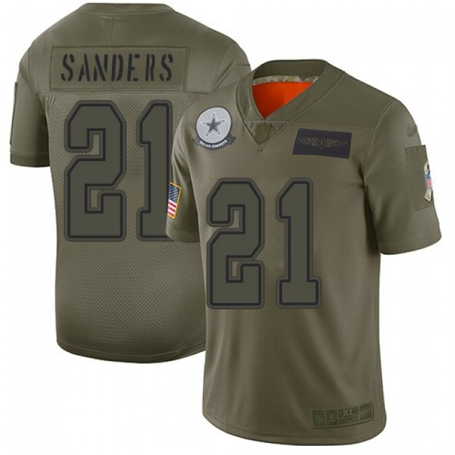 Nike Cowboys #21 Deion Sanders Camo Men's Stitched NFL Limited 2019 Salute To Service Jersey