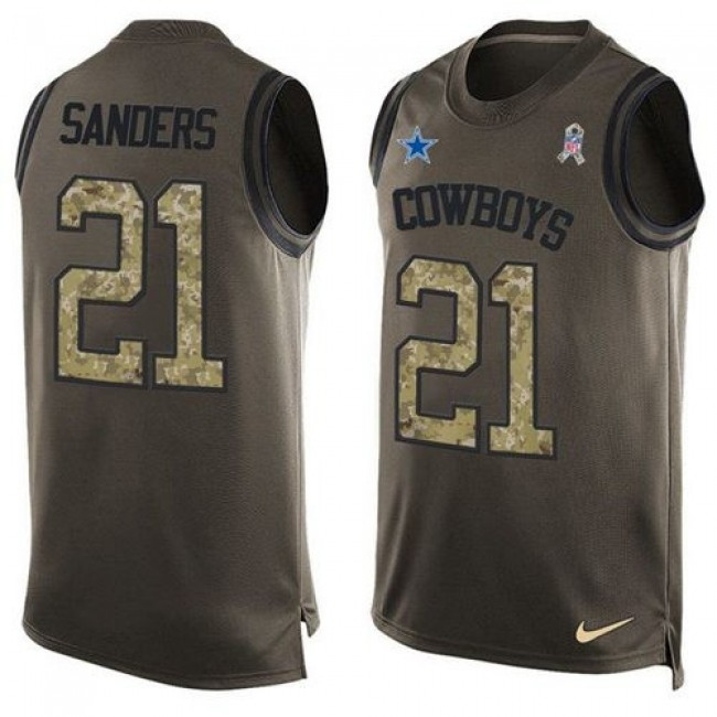 Nike Cowboys #21 Deion Sanders Green Men's Stitched NFL Limited Salute To Service Tank Top Jersey