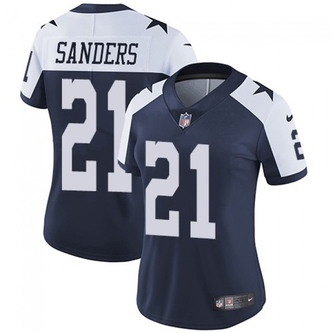 Women's Cowboys #21 Deion Sanders Navy Blue Thanksgiving Stitched NFL Vapor Untouchable Limited Throwback Jersey