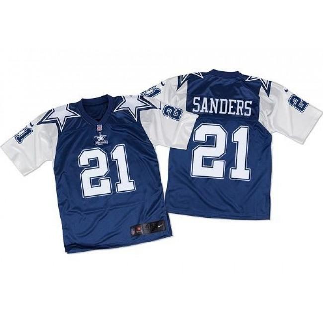 Nike Cowboys #21 Deion Sanders Navy Blue/White Throwback Men's Stitched NFL Elite Jersey