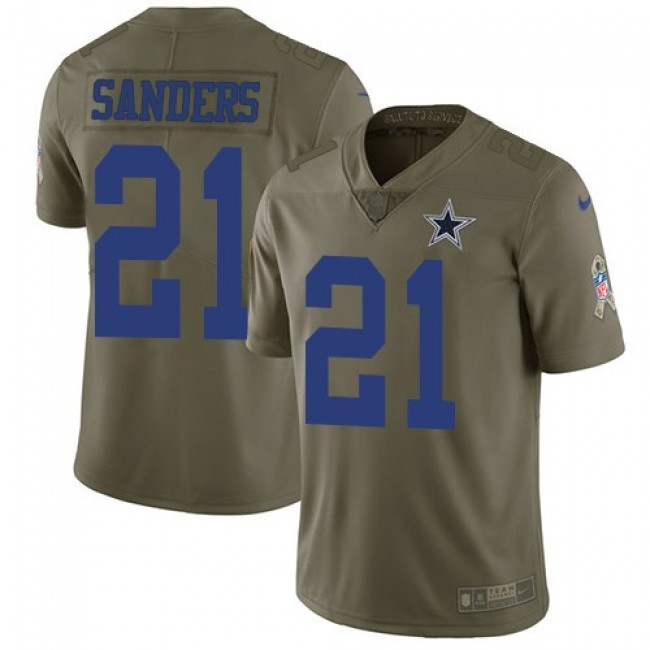 Nike Cowboys #21 Deion Sanders Olive Men's Stitched NFL Limited 2017 Salute To Service Jersey