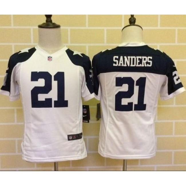 Dallas Cowboys #21 Deion Sanders White Thanksgiving Youth Throwback Stitched NFL Elite Jersey
