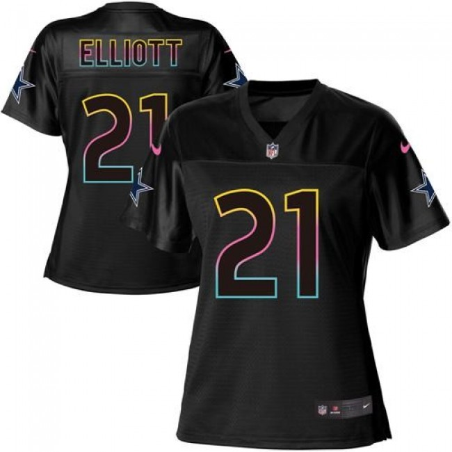 Women's Cowboys #21 Ezekiel Elliott Black NFL Game Jersey