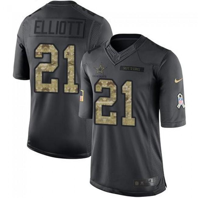 Dallas Cowboys #21 Ezekiel Elliott Black Youth Stitched NFL Limited 2016 Salute to Service Jersey