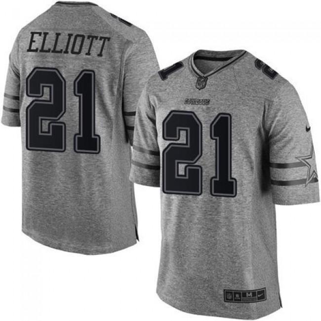 Nike Cowboys #21 Ezekiel Elliott Gray Men's Stitched NFL Limited Gridiron Gray Jersey