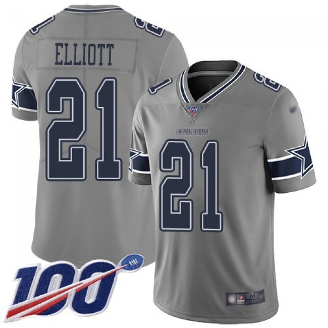 Nike Cowboys #21 Ezekiel Elliott Gray Men's Stitched NFL Limited Inverted Legend 100th Season Jersey